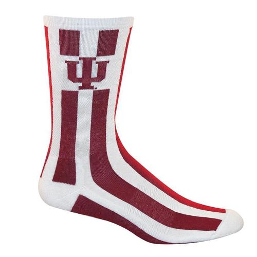Indiana Iu Candy Stripe Crew Socks