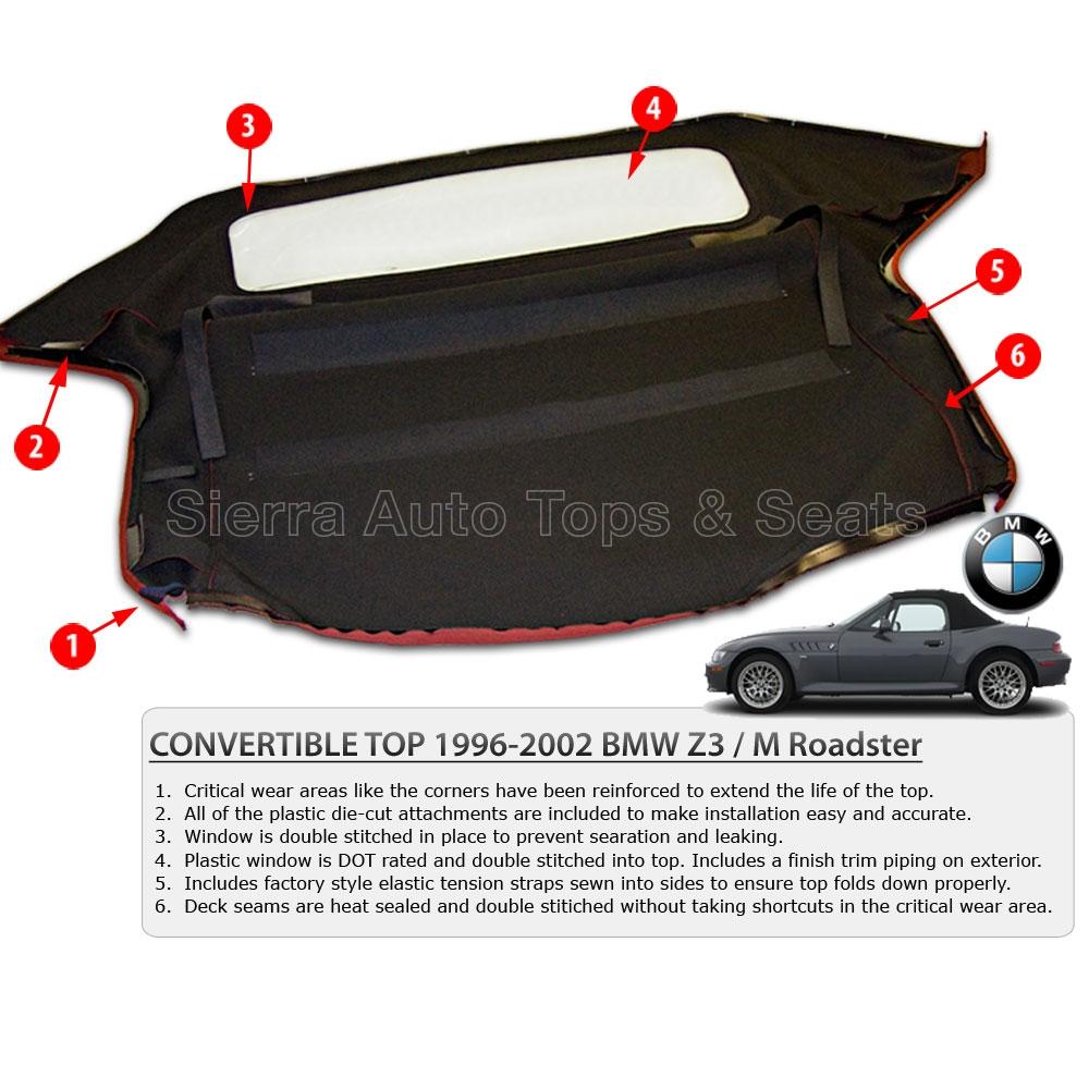 BMW Z3  M Roadster Burgundy Convertible Top w Plastic Window