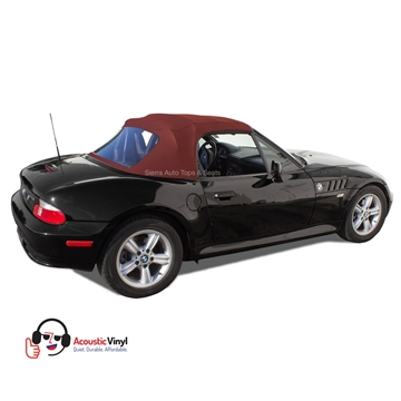 BMW Z3 Convertible Top in Bordeaux Vinyl with plastic window