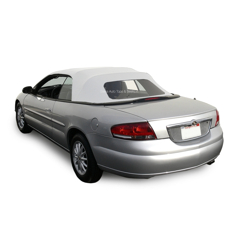 convertible soft top for chrysler sebring in white sailcloth vinyl chrysler convertible top 1996 2006 sebring stratus 1 piece plastic window sailcloth vinyl white