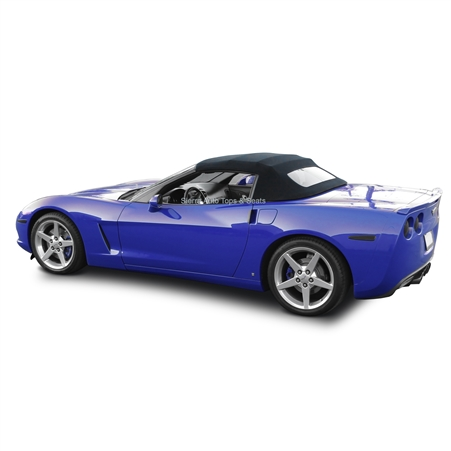 Corvette Convertible Top 05-13 C6 in Black Twill Vinyl with Glass Window