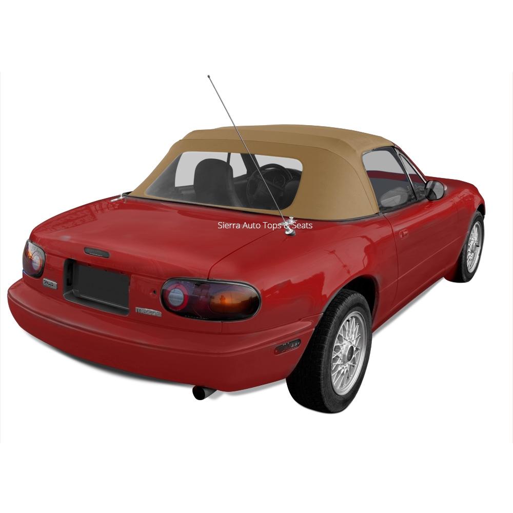 Mazda Convertible Top 1990 2005 Miata 1 Piece Plastic Window Cabrio Grain Vinyl Light Tan