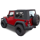 2007-2009 Jeep Wrangler Black Twill Cloth Soft Convertible Top