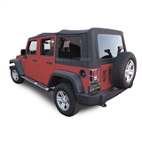2007-2009 Jeep Wrangler 4 Door JK Black Sailcloth Soft Convertible Top