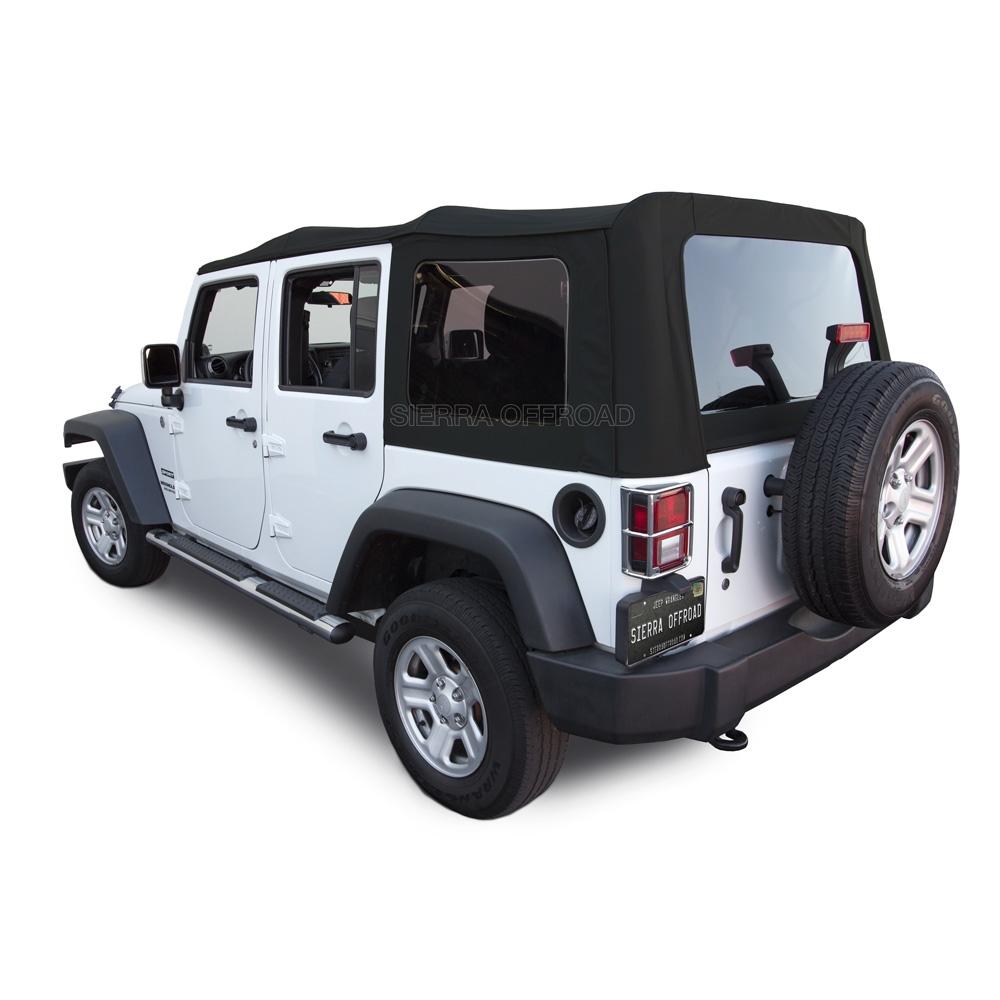 Jeep Jk Soft Top >> Sierra Offroad 2007 2009 Jeep Wrangler 4 Dr Jk Soft Top Twill Cloth 40 Mil Press Polish Windows