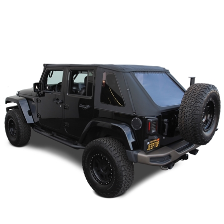 2007-2018 Jeep Wrangler Black Sailcloth Soft Convertible Top 4DR