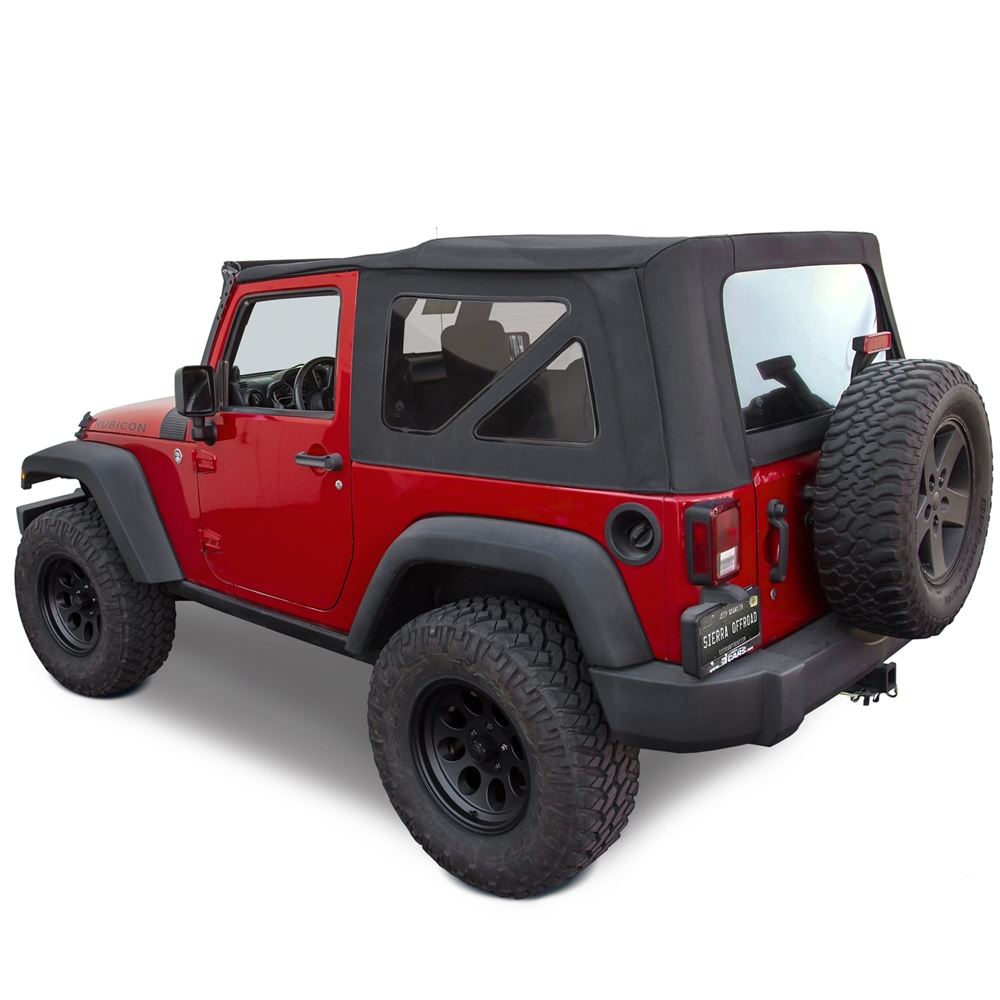 Jeep Wrangler Soft Top >> Sierra Offroad 2010 2018 Jeep Wrangler 2 Dr Jk Soft Top Twill Cloth 40 Mil Press Polish Windows