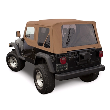 Sierra Offroad TJ Wrangler Soft Top & Upper Door Skins, Saddle Sailcloth | Auto Tops Direct