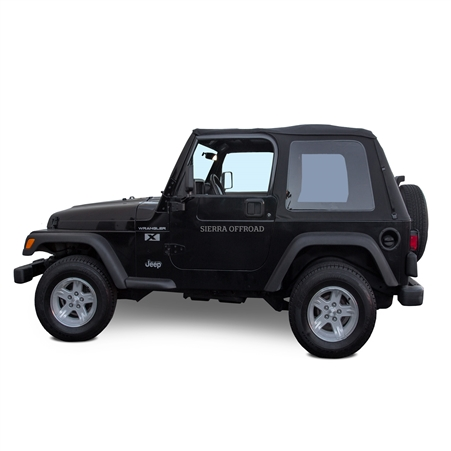 Jeep Wrangler Frameless Soft Top 1997-2006, Black Sailcloth Vinyl | Auto Tops Direct