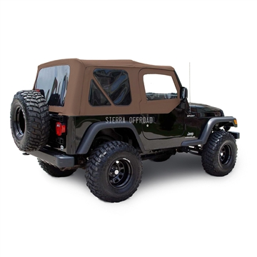 Sierra Offroad 2003-2006 TJ Soft Top and Upper Door Skins, Tinted Windows in Saddle Sailcloth