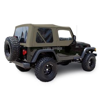 Sierra Offroad 2003-2006 TJ Wrangler Factory Style Soft Top, Tinted Windows, Upper Doors, Parchment Sailcloth