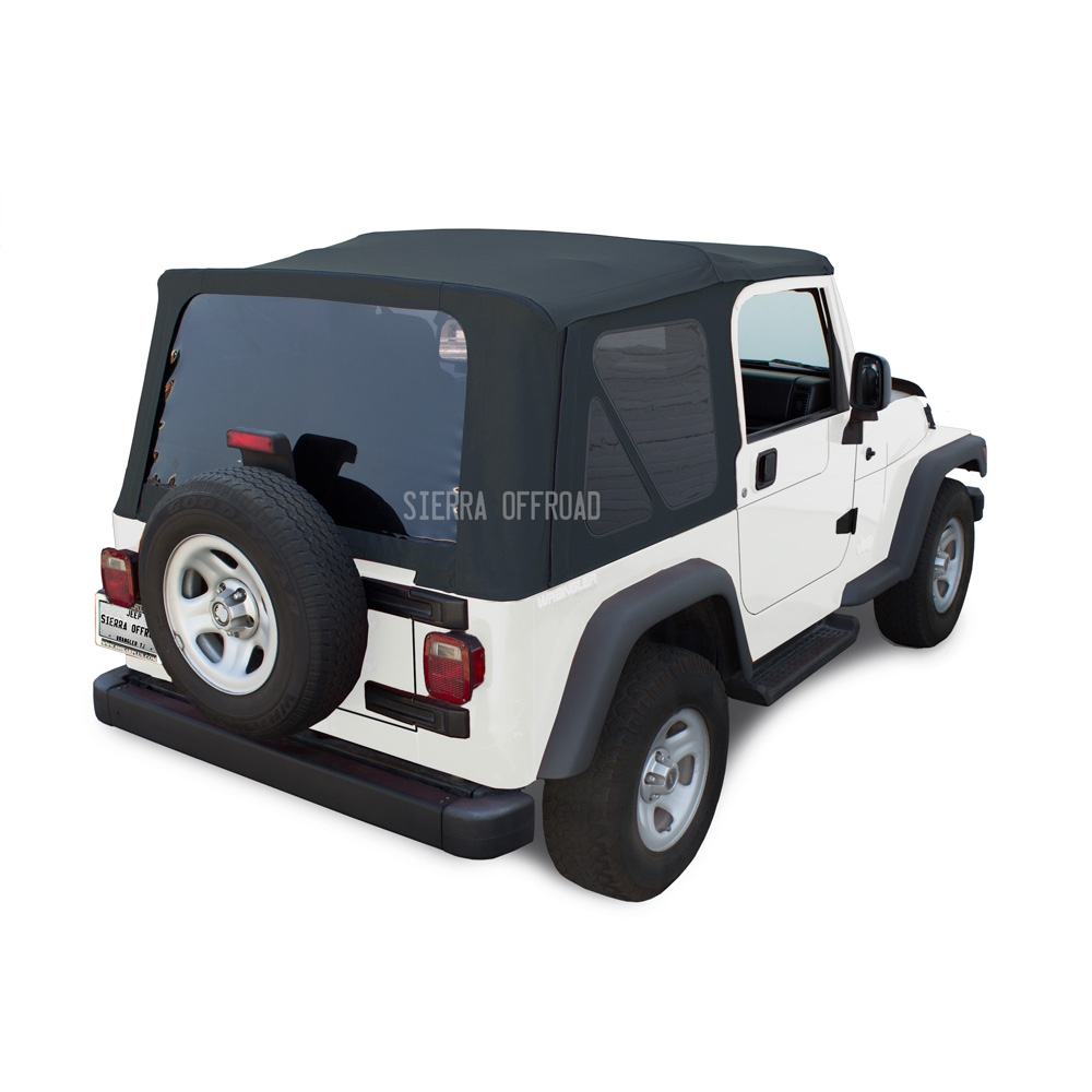 Sierra Offroad Jeep Wrangler TJ Soft Top 2003 06 In Blue Twill W/Tinted  Windows