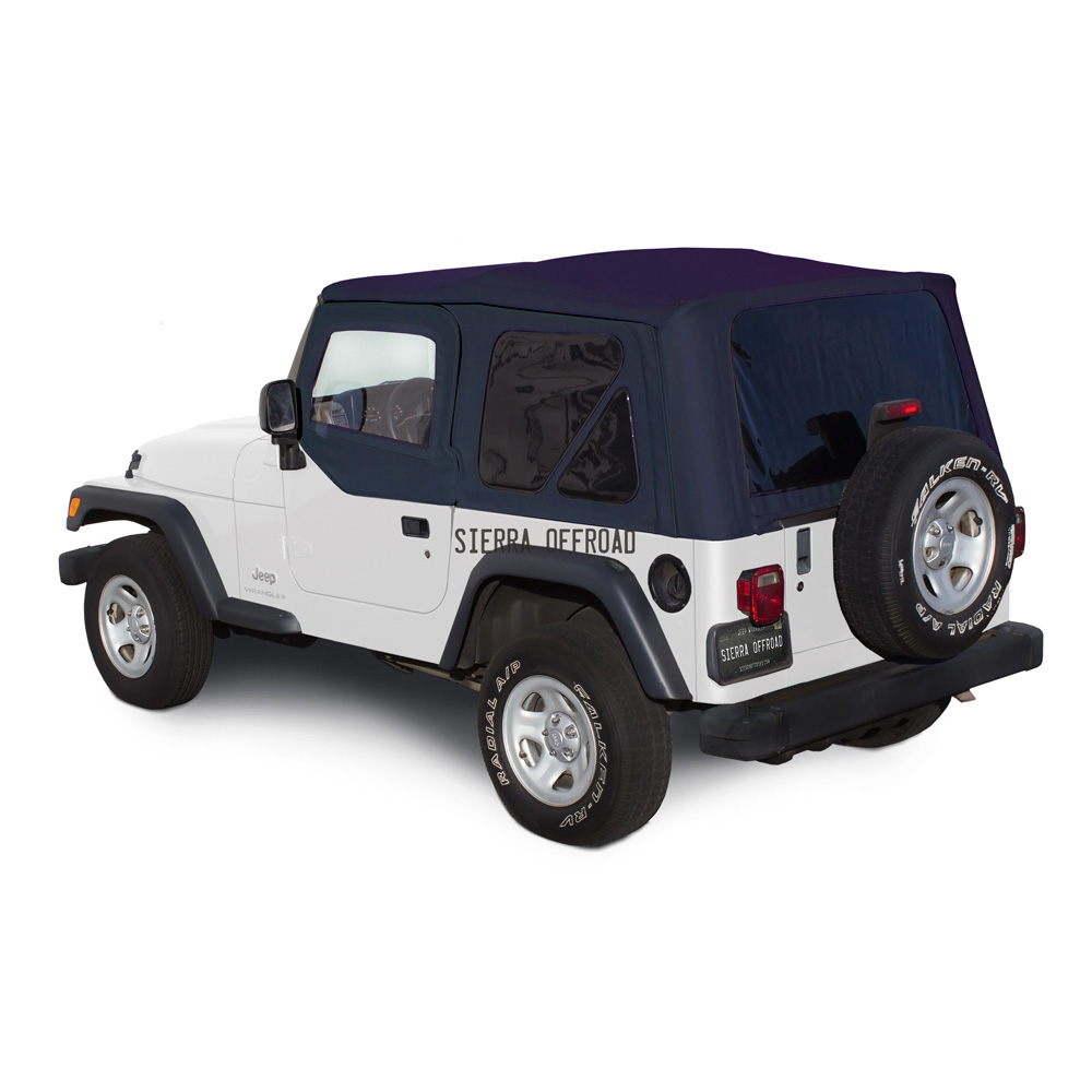 Sierra Offroad 2003 2006 TJ Wrangler Soft Top, TInted Windows, Upper Doors  Blue