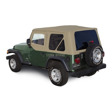 Sierra Offroad 2003-2006 TJ Wrangler Soft Top, TInted Windows, Upper Doors Camel Trilogy Acoustic Vinyl