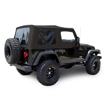 Sierra Offroad 2003-2006 TJ Wrangler Factory Style Soft Top, Tinted Windows, Upper Doors, Black Diamond