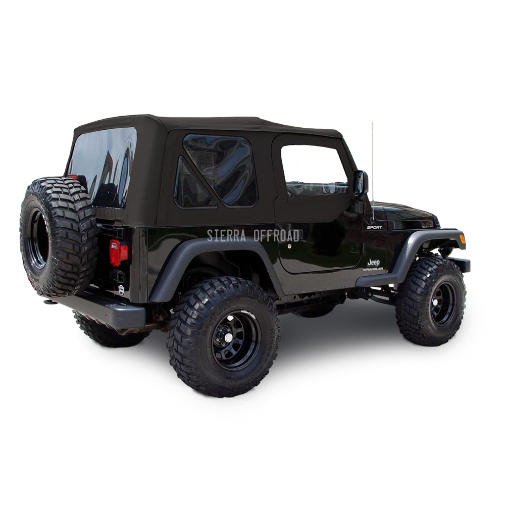 Jeep Yj Soft Top >> Sierra Offroad 2003 2006 Tj Soft Top And Upper Door Skins Tinted Windows In Black Sailcloth
