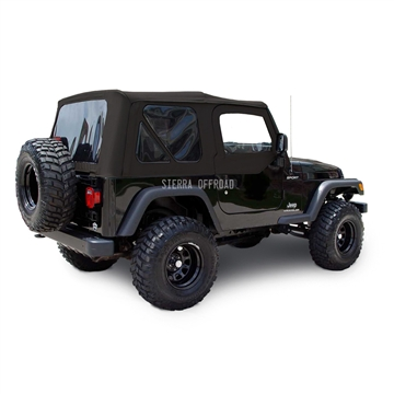 Sierra Offroad 2003-2006 TJ Soft Top and Upper Door Skins, Tinted Windows in Black Sailcloth