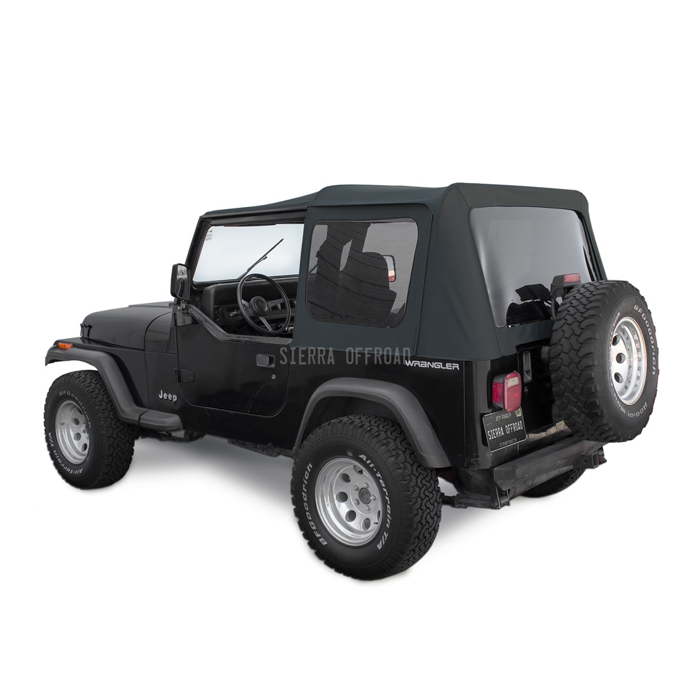 Sierra Offroad Jeep Wrangler YJ Soft Top 88 95 In Black Sailcloth Tinted  Windows