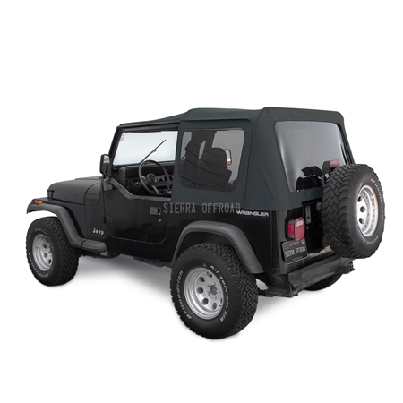 Sierra Offroad Jeep Wrangler YJ Soft Top 88-95 in Black Sailcloth Tinted Windows
