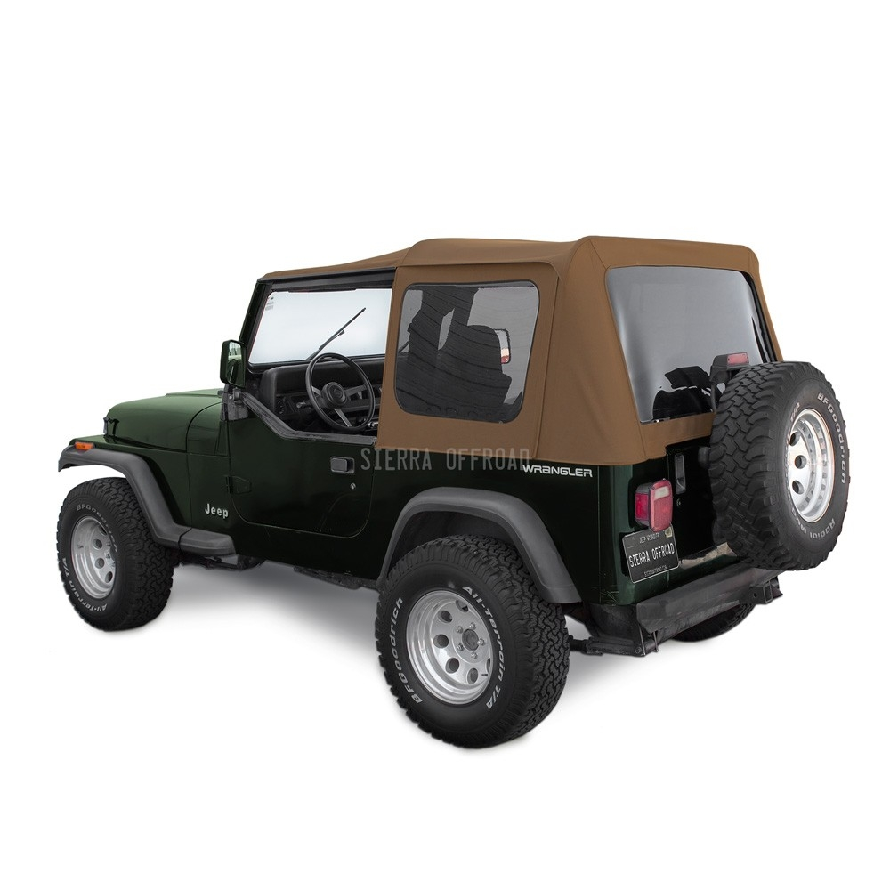 Sierra Offroad Jeep Wrangler YJ Soft Top 88 95 In Spice Sailcloth Tinted  Windows