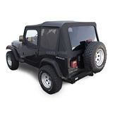 Sierra Offroad Jeep Wrangler YJ Soft Top 88-95 in Black Denim, Tinted Windows, Upper Doors