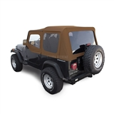 Sierra Offroad Jeep Wrangler YJ Soft Top 88-95 in Spice Denim, Tinted Windows, Upper Doors