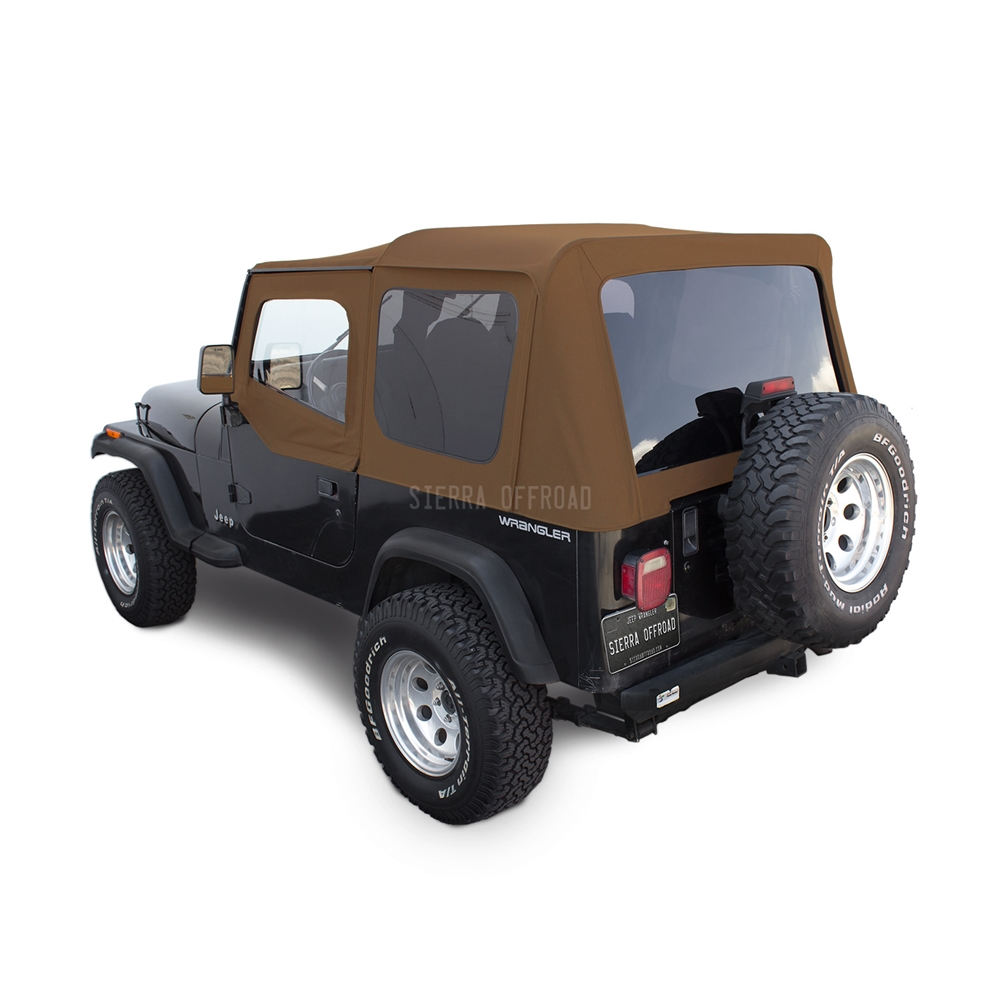 Sierra Offroad Jeep Wrangler YJ Soft Top 88 95 In Spice Denim, Tinted  Windows, Upper Doors