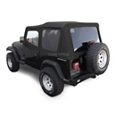 Sierra Offroad Jeep Wrangler YJ Soft Top in Black Sailcloth, Tinted Windows, Upper Doors