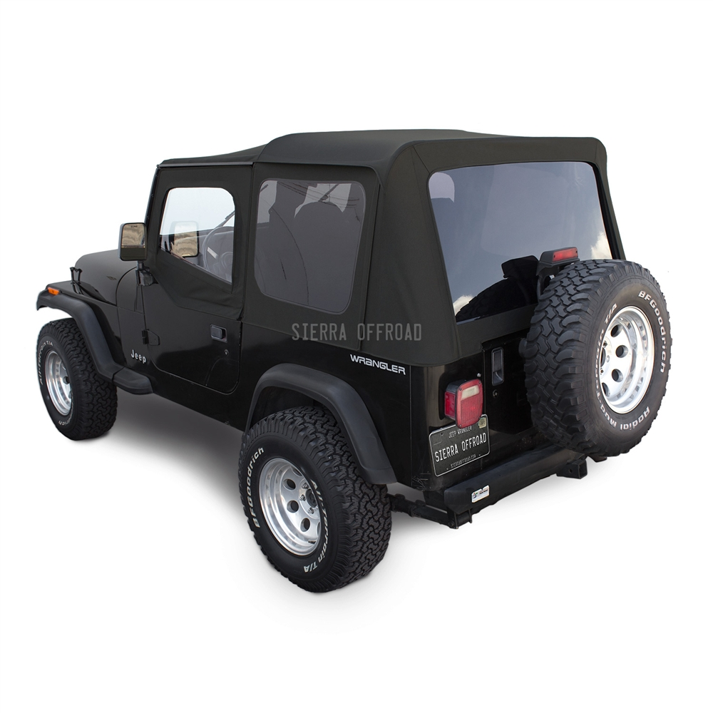 Jeep Wrangler Replacement Soft Top >> Sierra Offroad Jeep Wrangler YJ Soft Top in Black Sailcloth, Tinted Windows, Upper Doors