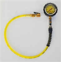 Power Tank Pressure Gauge, Liquid filled, Euro Clip-on chuck, Bleeder Button, 60 PSI