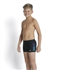 Rapid Swimshop Speedo Logo Panel Aquashort Print 45 Black/Blue Boys