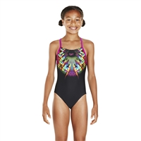 Rapid Swimshop Speedo Endurance10 FreeFly Placement Digital Splashback Black/Purple - Girls
