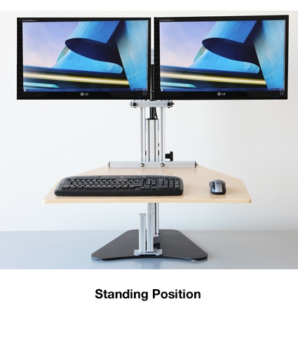 Kangaroo Elite Desktop Sit Stand Workstation Dual Monitor