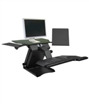 Health Postures Taksmate Executive Desktop Electric Sit Stand Workstation- with copy holders and keyboard tray