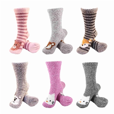 Women's Super Soft Warm Fuzzy Cozy Animal Socks, 6 Pairs