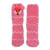 Fuzzy Animal Crew Socks, Pink Fox