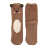 Fuzzy Animal Crew Socks, Brown Bear