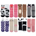 fluffy cute socks with animal heads