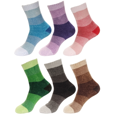 Women's Chenille Fuzzy Color Block Crew Home Socks, 2 Sizes