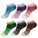 Women's Chenille Fuzzy Color Block Ankle Home Socks, 2 Sizes