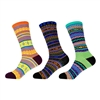 Men's Size S/M Vintage Style Knitted Colorful Cotton Crew Socks - 3 Pairs Assortments