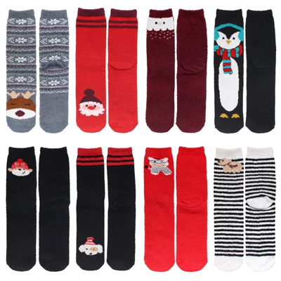 Women's Cute Fuzzy Warm Christmas Cozy Crew Socks