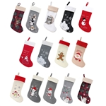 "18"" Hand embroidered Sequined Cute Animal Christmas Stockings"