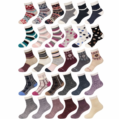 women's funky colorful double layer cabin crew socks