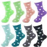 Womens Fuzzy Polka Dot Socks