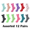 Fuzzy Polka Dot Socks - 12 Pair