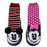 Microfiber Fuzzy Mickey & Minnie Socks/Slippers