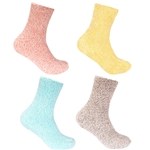 Women's Fuzzy Warm Feather Soft Socks - 4 Pair Value Packs