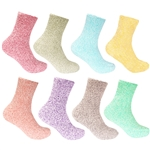 Soft fuzzy fluffy toe colorful women's crew socks