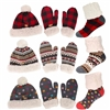 fuzzy hat, mitten, and socks set